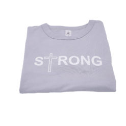"Ladies T-Shirt ""Strong"" - pazifik grau mit Strass"
